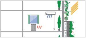 Grafik Isolationswirkung von Fassadenbegrünung