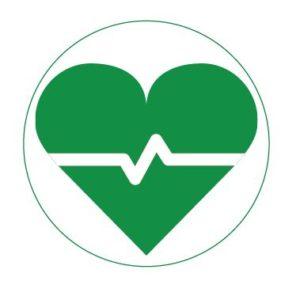 grünes Herz mit EKG-Linie