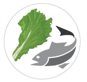 Fisch und Salatblatt in einem Kreis