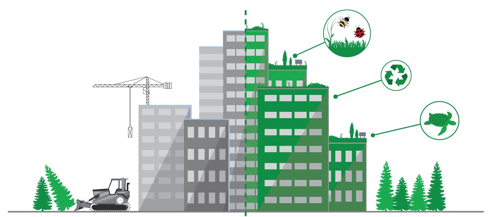 Grafik Stadt links unbegrünt rechts begrünt, Symbole für die Naturschutzwirkungen